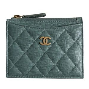 Chanel CC Quilted Zip Card Holder Case